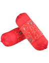 Polydupion Red Embroidered Round Sofa Bed Bolster Cover