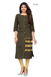 Slab Cotton Solid Kurti