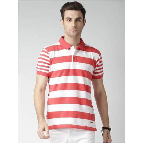 Mens Cotton Red & White Striped T-Shirt, Size: S to XL