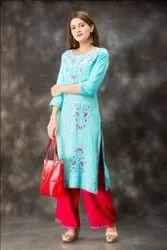 Long Hand Embroidered Turquoise Pattern Designer Kurti