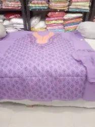 Cotton contrast suit with shifoon dupatta