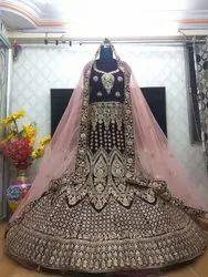 Hand Work 9000 Velvet Lehenga Choli, Size: Free Size, Lehanga,Blouse And Dupatta