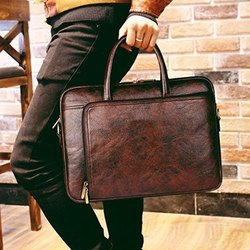 Brown Men Fancy Office Leather Bag, Size: 11 X 15 Inch