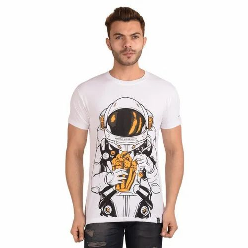 aa900f679 Half Sleeve Round Ribbons and Mustache Men' s White Printed Cotton T Shirt,  Size