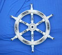 Nautical Whitewashed Wooden Ships Wheel