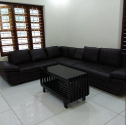 LRF Black Rexin Corner Sofa, Features: Washable