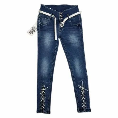 Blue Women Stretchable Denim Jeans, Packaging Type: Packet, Waist Size: 26 to 34