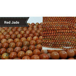 Red And Green Red Jade Stone Mala, Size: 5mm