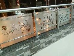 Silver Stainless Steel Staircase Railing, For Home