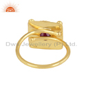Vintage Design Yellow Gold Plated Silver Natural Ruby Gemstone Rings