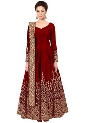 Rust Red Silk Heavy Anarkali Suit