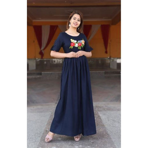 XL Blue Embroidered Anarkali Kurti, Packaging Type: Box