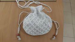White And Purpal Beaded Potli Bag