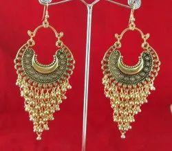 NK Handmade Fashionable Oxidized Golden Super Chand Earring