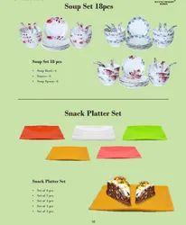 Melamine 18 Pcs Soup Set/Snack Platter Set