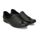 Men Black Leather Semi Formal Shoe, Size: 7-10