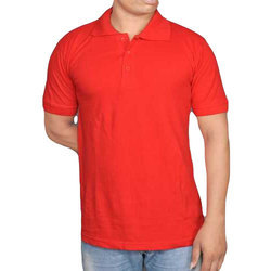 100% Cotton Red Collar T-Shirt Polo Type