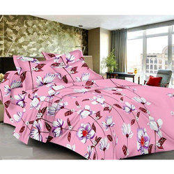 Flower Printed Pink Cotton Bed Sheet
