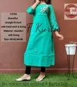 Cotton 3/4th Sleeve Sea Blue Straight Kurti