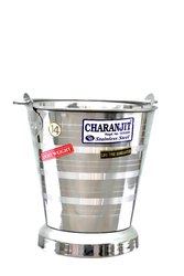 Silver Mirror Polish Stainless Steel Jointless Bucket, Capacity: Multiple Sizes