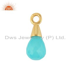 Aqua Chalcedony Gemstone Gold Plated Silver Charm Finding