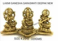 Golden Plated Laxmi Ganesh Swaswati