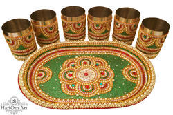 Traditionally Decorated Glass & Tray Set
