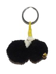 Refratexindia Black Key Ring Pom Pom
