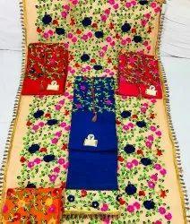 4 Colours Cotton Ladies Designer Suit, For Heavy Dupatta