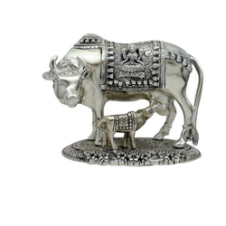 Silver Plated Cow Statue with Carving Platform