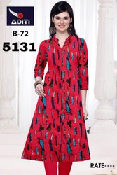 Casual And Party Wear Regular Ladies Cotton Kurtis