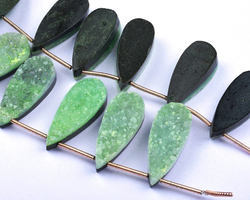 Sparkling Druzy 6 Beads 10x25mm Parrot Green Flat Druzy Pear Shape Beads
