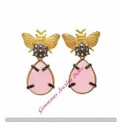 Rose Quartz Chalcedony Butterfly Earring
