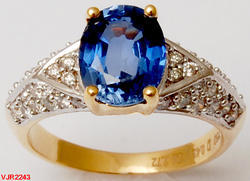 Simulated Blue Sapphire and Diamond Daily Wearable Ring