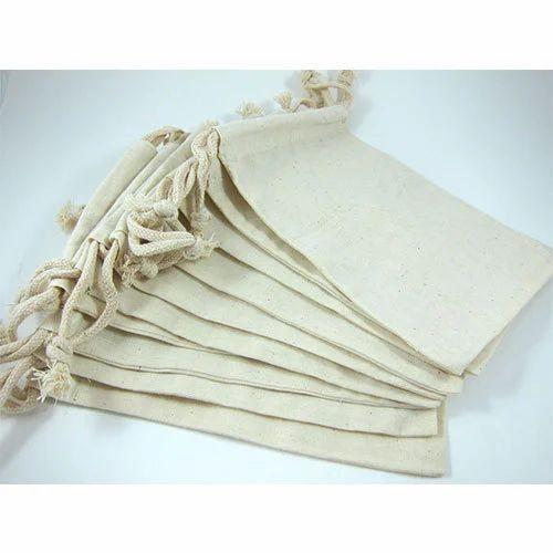 Off White Plain Cotton Muslin Bag