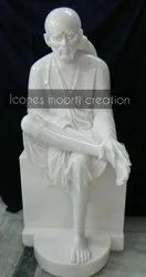 White Painted Marble Sai Baba Statue