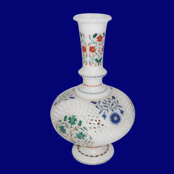Marble Flower Vase With Jaali Work