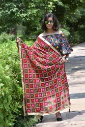 Checkered Style Embroidery Dupatta