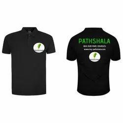 Printed Half Sleeve Mens Black Cotton Polo T Shirt