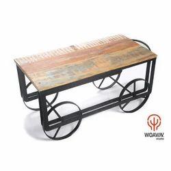 Woavin Industrial Cart Coffee Table Reclaimed Wooden Top