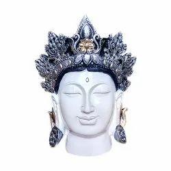 White Gautam Buddha Face Statue