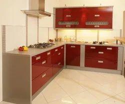Kube Wooden L Shape Modular Kitchen, Warranty: 1-5 Years