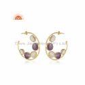 Natural Amethyst Rainbow Moonstone Gemstone Hoop Earrings Jewelry
