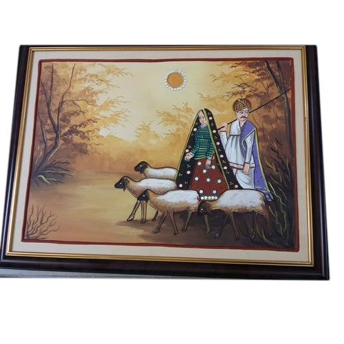 Wooden Frame Village Wall Hang Painting