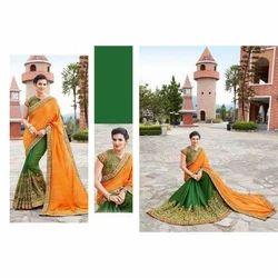 Pure Silk Green & Orange Festive Wear Saree with Blouse Piece