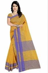 Multicolor Party Wear Soft Cotton Silk Saree 6.3 m (with Blouse Piece)