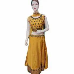 Sleeveless Ladies Embroidered Cotton Lehenga Choli, Size: S-XXL