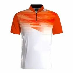 Printed Polyester Stand Collar Sports T Shirt, N11