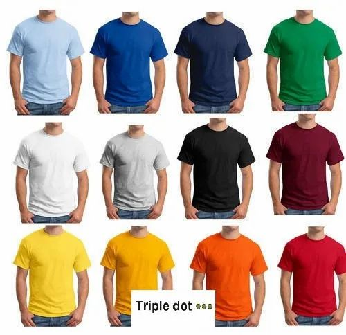 Casual Wear Half Sleeve Triple Dot Round Neck Cotton T Shirt