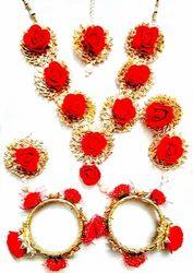 Anu's Creation Handmade Rose Flower Gota Patti Jewellery Set(Mehandi/Haldi/Wedding)